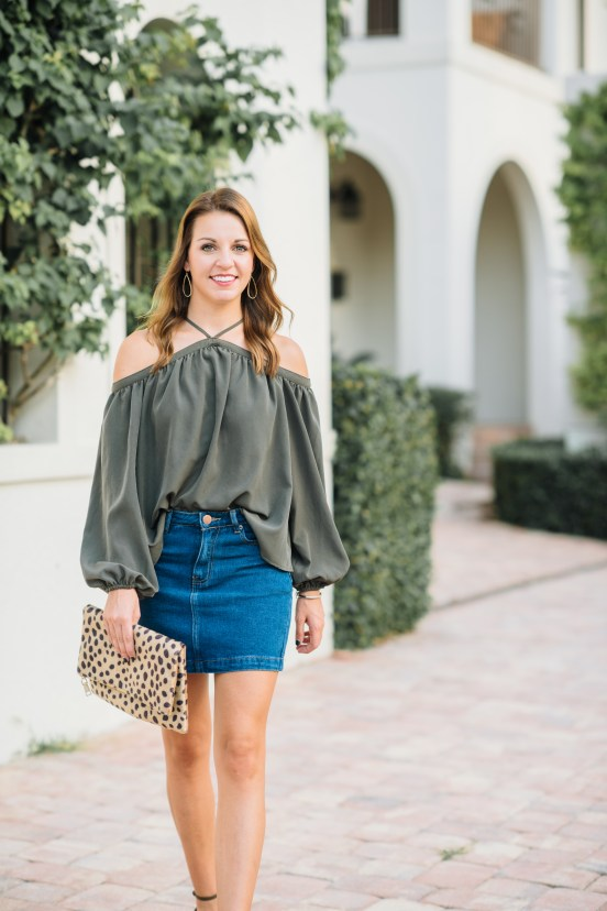 Olive Off the Shoulder Top & Denim Skirt by Florida fashion blogger Absolutely Annie