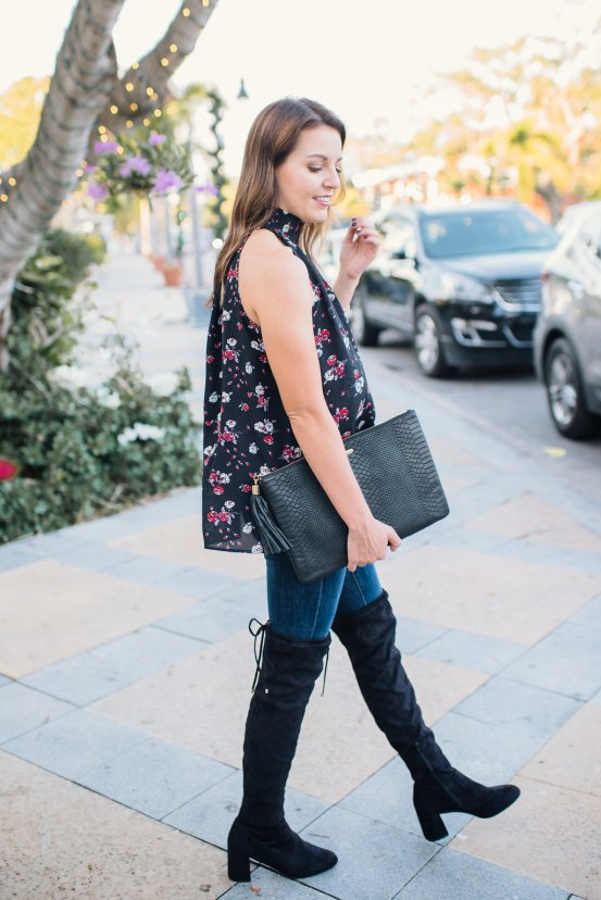 Floral Tank & Over the Knee Boots by Florida fashion blogger Absolutely Annie