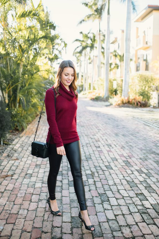 Holiday Outfit x Leather Leggings by Florida style blogger Absolutely Annie