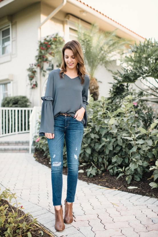 Bell Sleeve Blouse by popular Florida fashion blogger Absolutely Annie