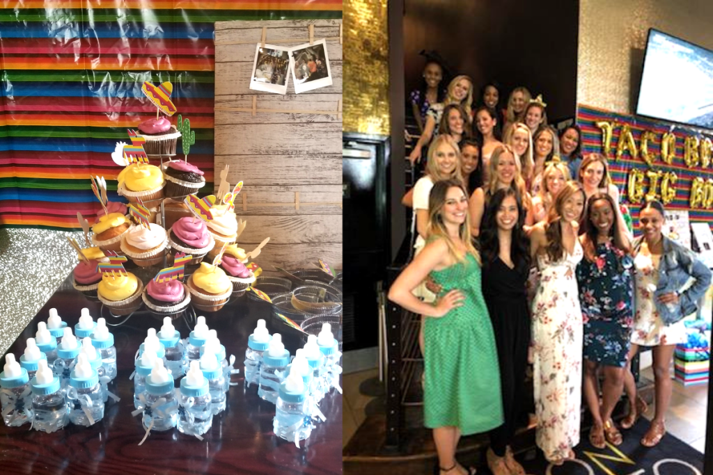 Taco-themed Baby Shower Cupcake Display and Favors