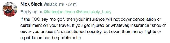 Travel risks comments Nick