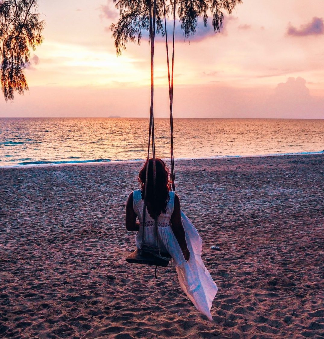 Absolutely Lucy, sunset, recovery from domestic violence trip, Thailand Koh Lanta beach shots 2019