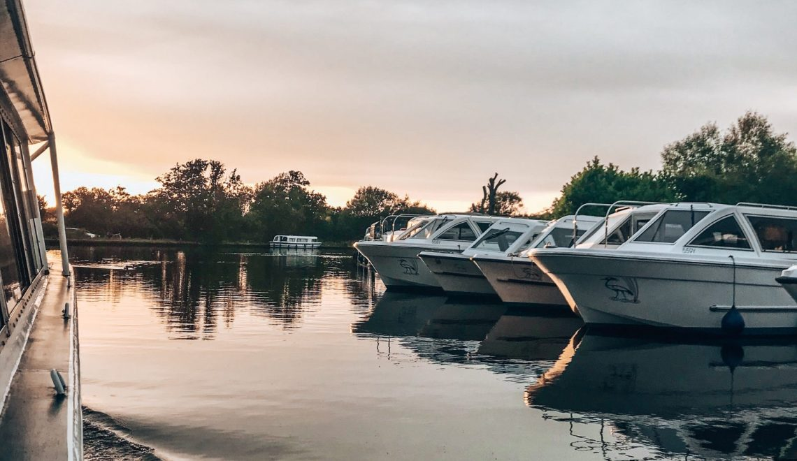 Sunset from the boat, Norfolk Broads