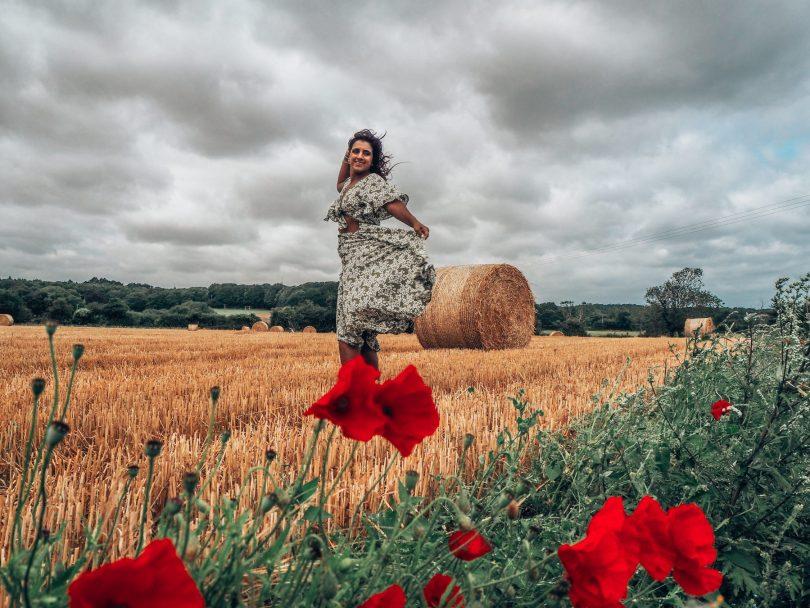 windy countryside norfolk hay bale