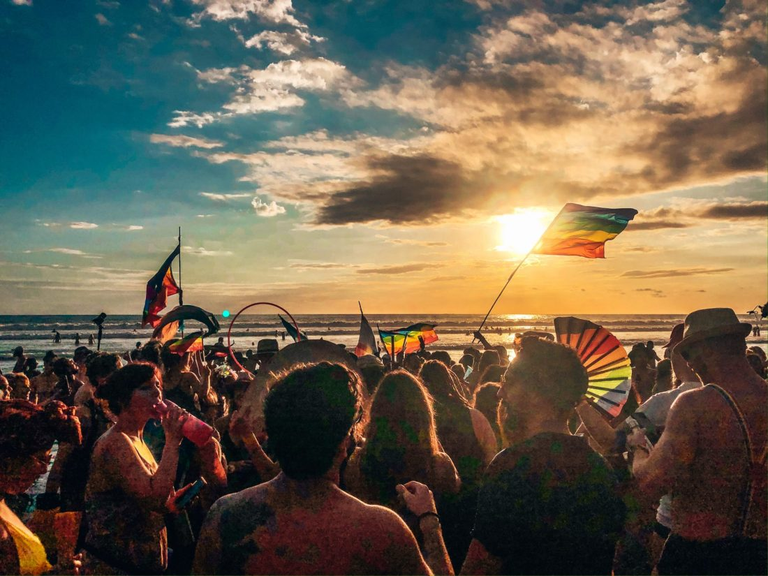Envision Festival crowd at beach for sunset, Uvita