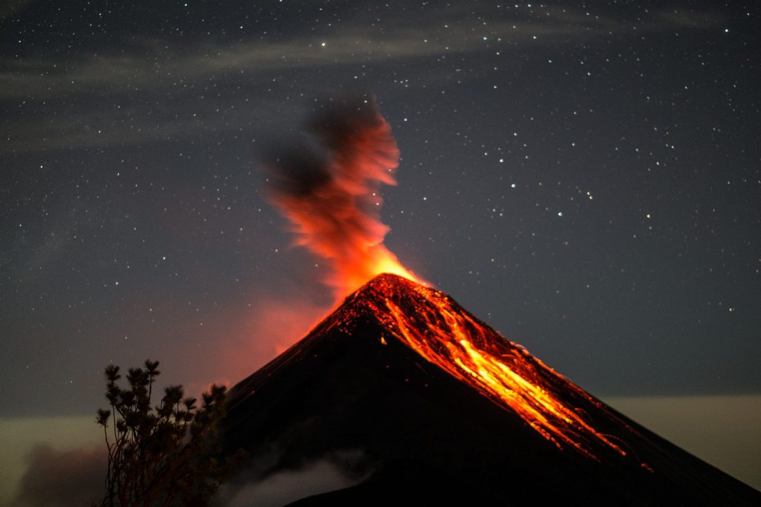Acatenango base camp view of Volcano Fuego erupting under the stars