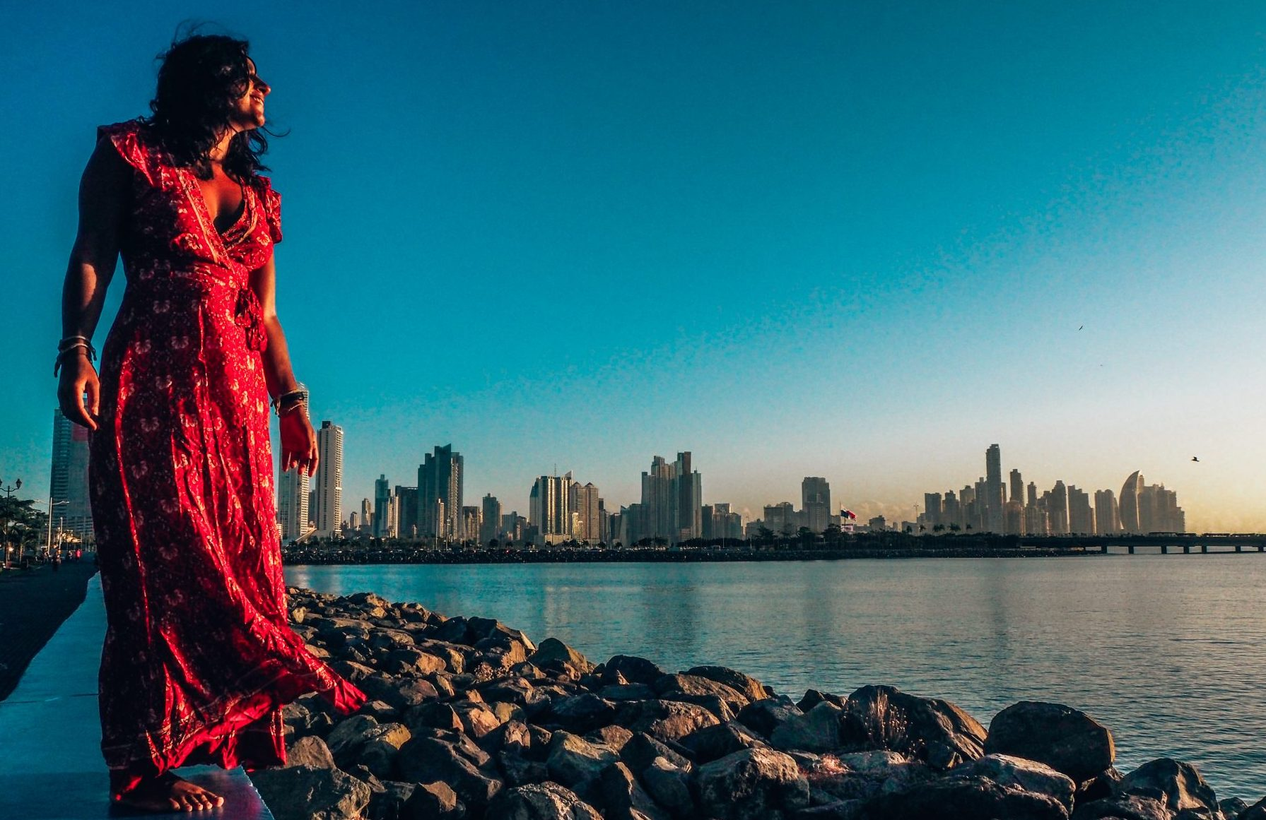 (work with me page) Sunrise with girl in red dress overlooking cityscape pano