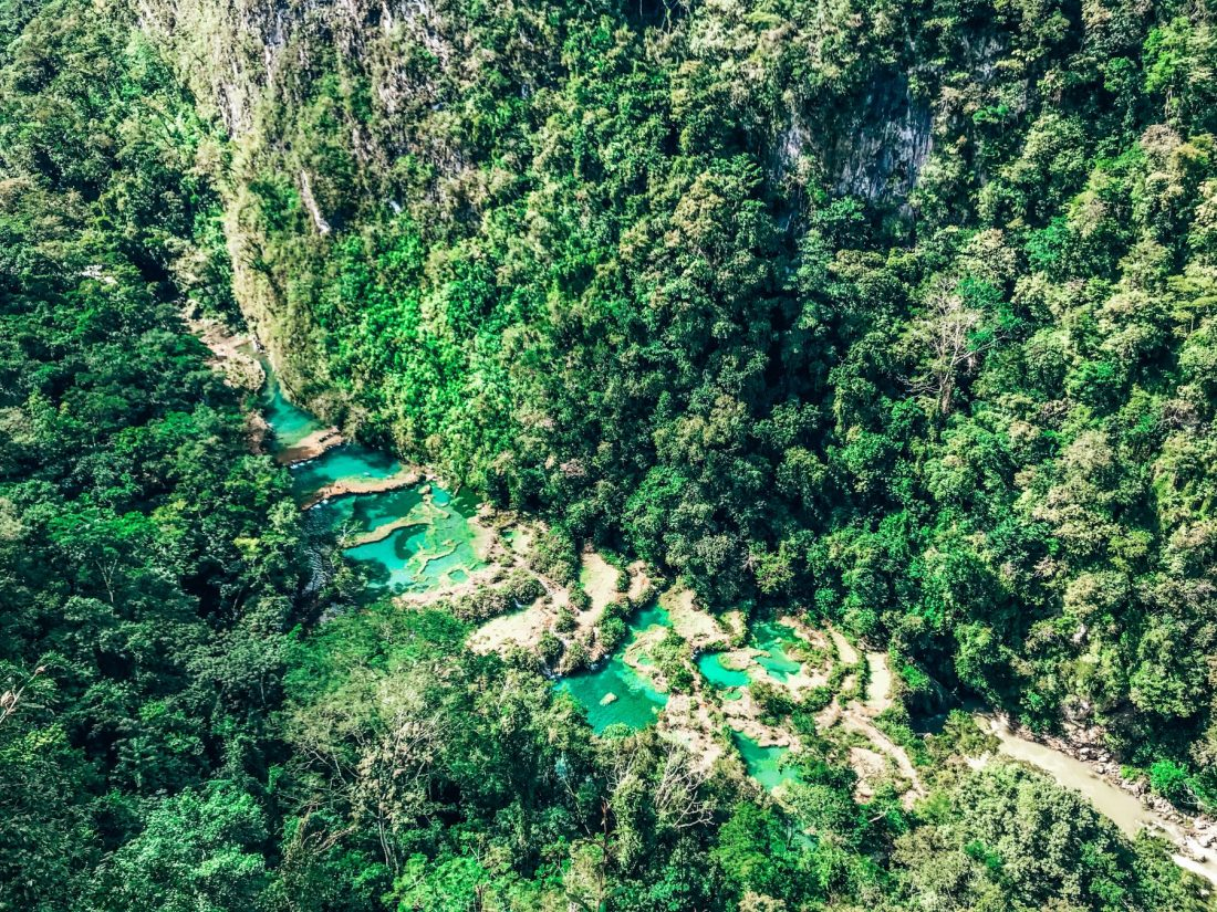 Semuc Champey, El Mirador viewpoint, Lanquin, turquoise pools in jungle, Guatemala travel itinerary