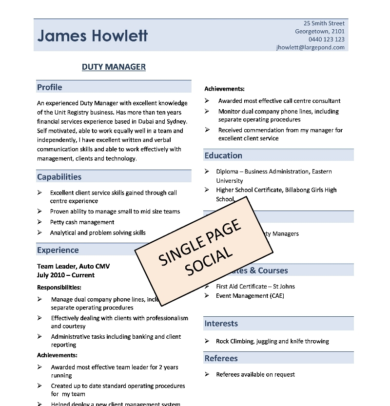 resume examples works well in team