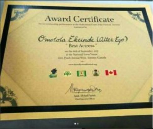 Omotola Jalade Ekeinde award