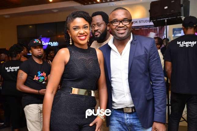 Omoni Oboli, Desmond Elliot, Tana Adelana Attend Body Language Movie Premiere