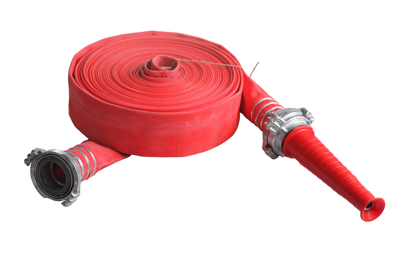 Red Fire Fighting Hose Soft Pipe, Isolated On White Background.