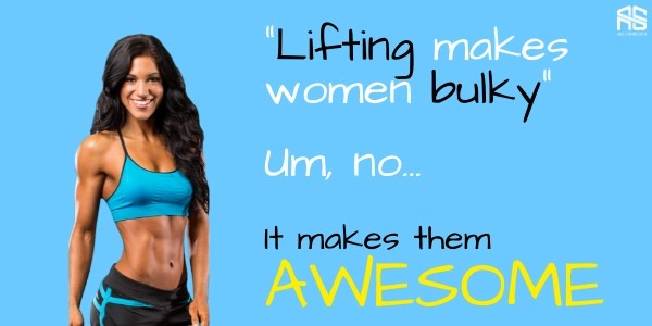 This is the picture which tells women not to afraid weight lifting because it  doesn't make them bulky