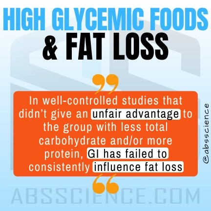 This is the picture showing that glycemic inde has no affect on fat loss