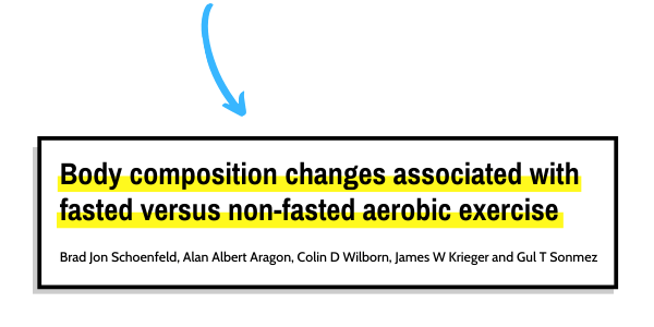 This is the picture of the first study that looks into fasted cardio versus fed state cardio for fat loss