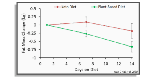 fat mass decrease between keto diet and plant based diet