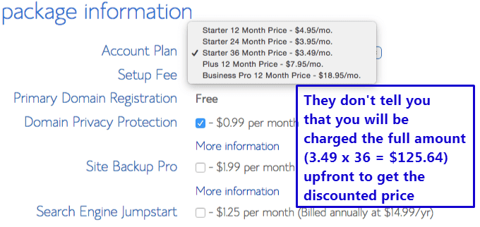 Comparison of web host price plans - SiteGround and BlueHost