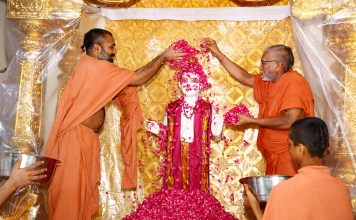 ghanshyam-maharaj-is-crowned-on-the-golden-throne-in-surat-wederod-gurukul