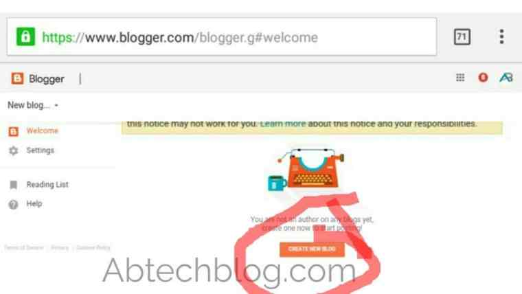 Create a professional blog on blogger