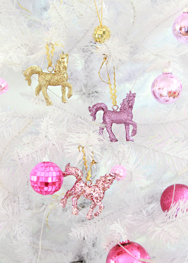 glitter unicorn ornaments