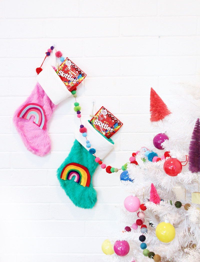 A Bubbly LifeDIY Rainbow Christmas Stockings - A Bubbly Life