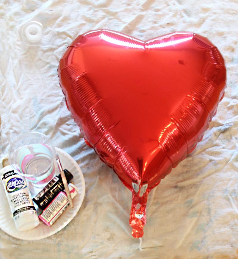 heart balloon materials for paint splatter diy
