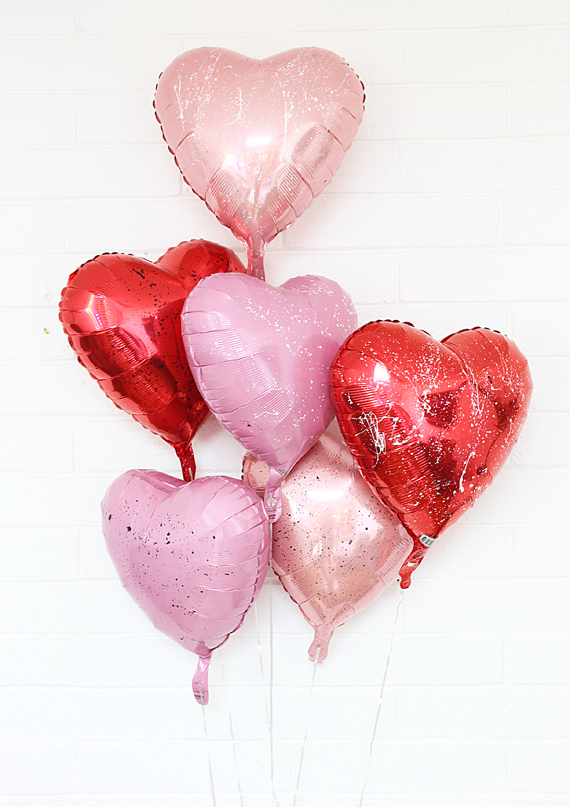 heart balloon splattered with paint