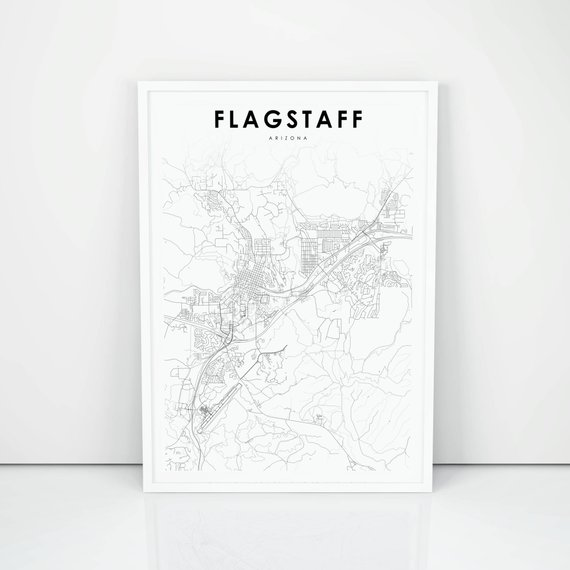 flagstaff map in black and white