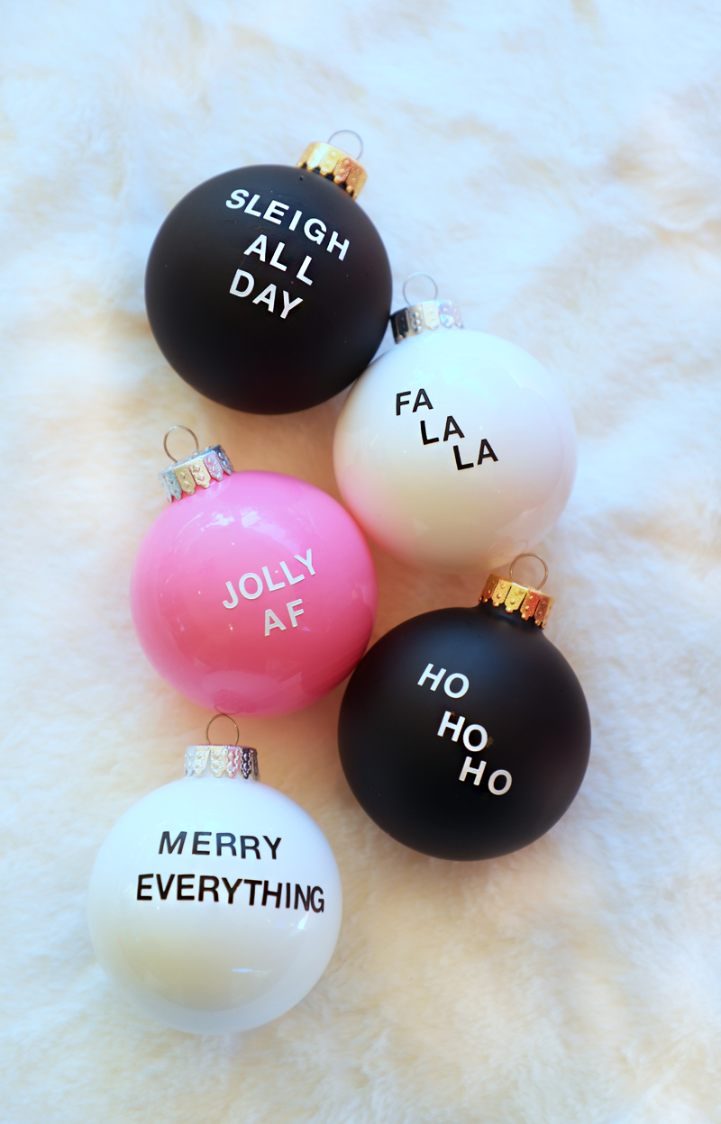 pink black and white christmas ornaments with funny sayings