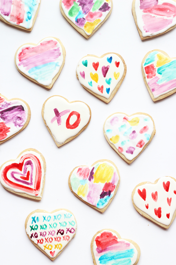 watercolour heart cookies