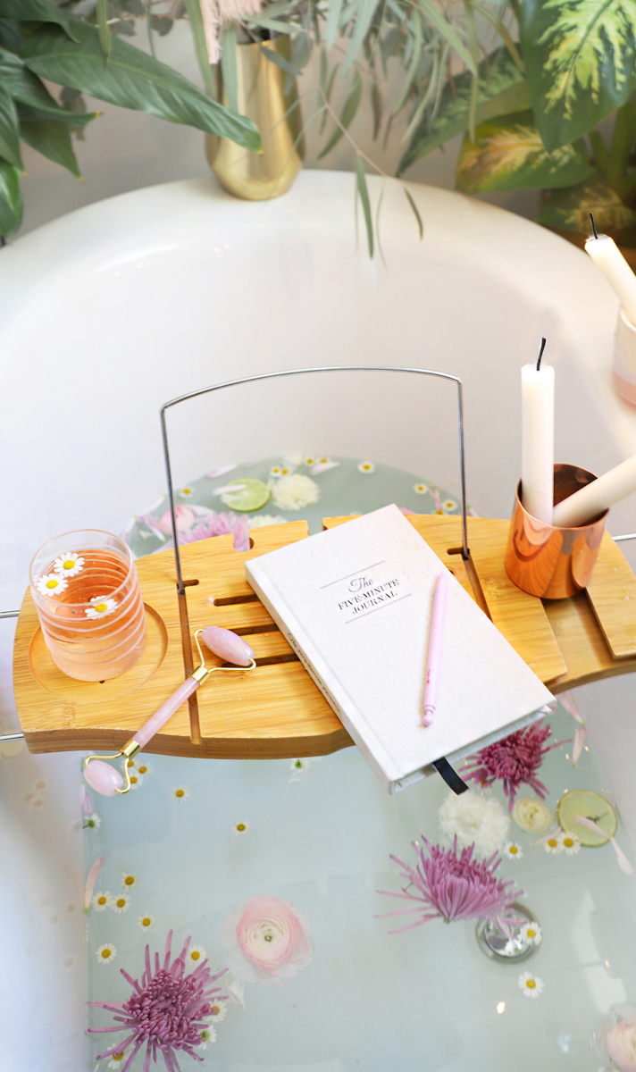 gratitude journal and relaxing bath