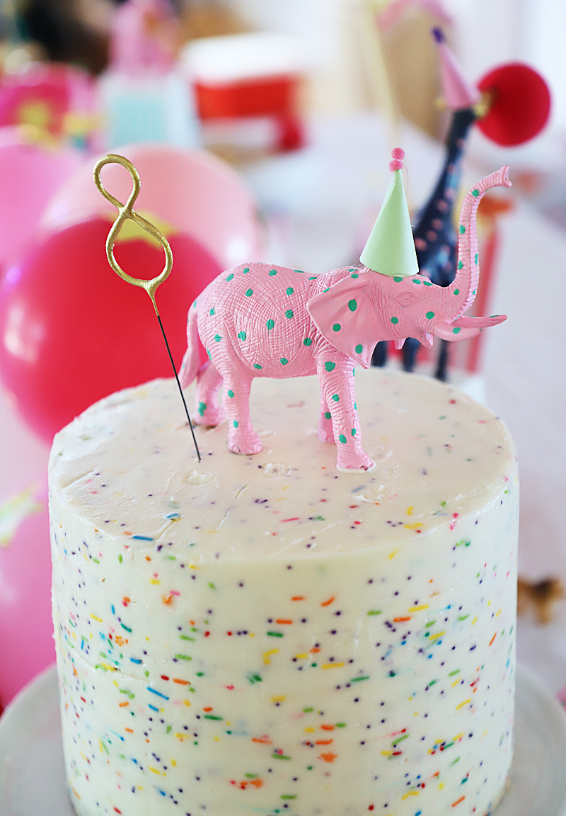 circus party with elephant cake topper