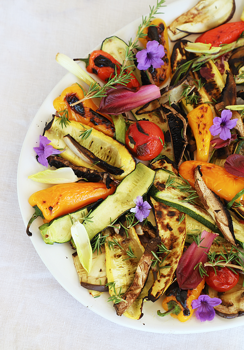 grilled vegetable platter with wine pairings