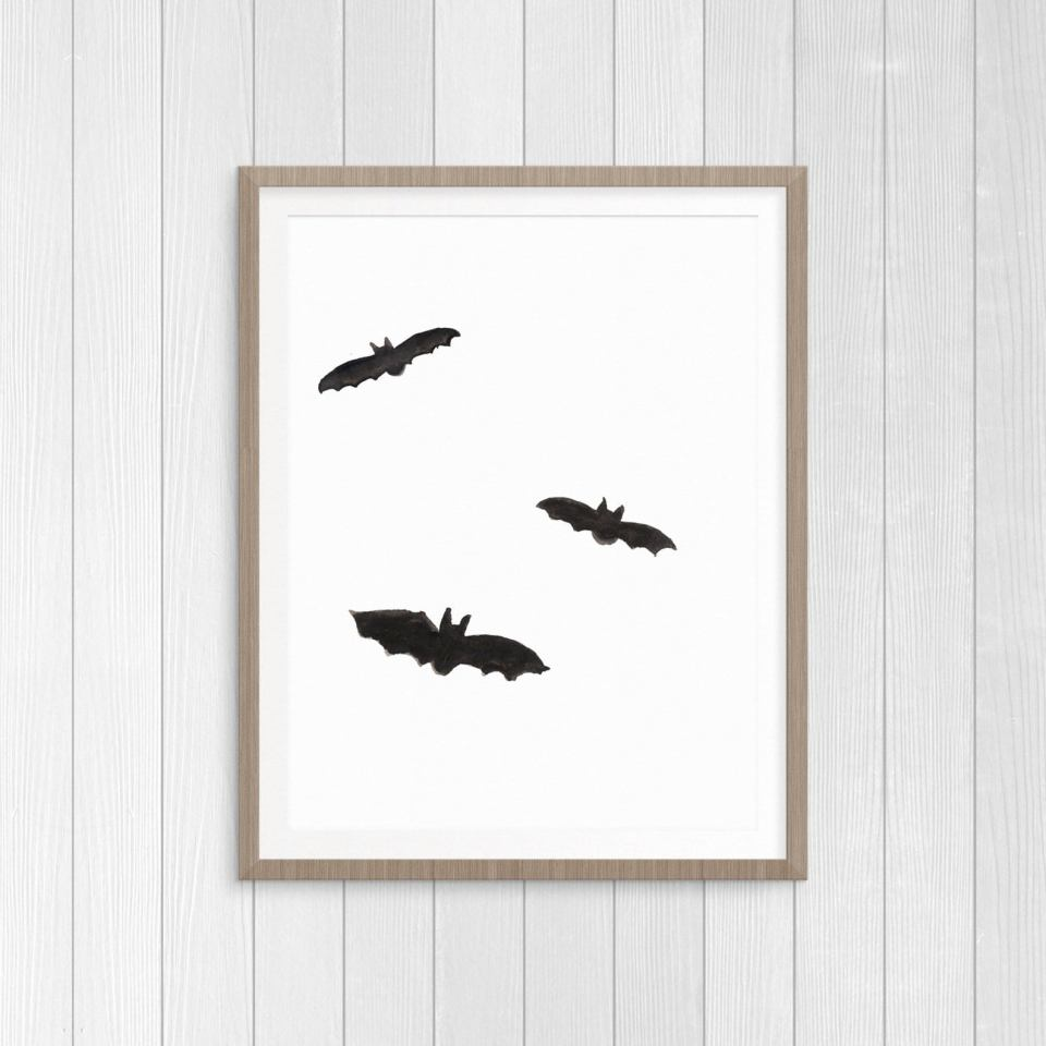 bat art print for halloween