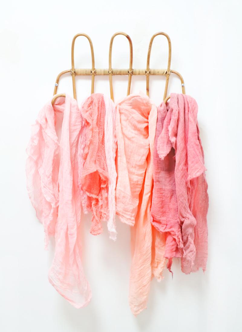 dyed fabrics drying