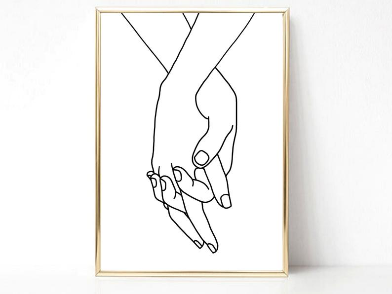 couple holding hands art print