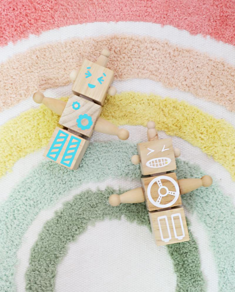 modern wooden toy robots