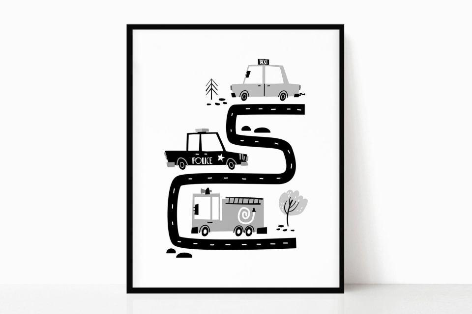 black and white car road art printable
