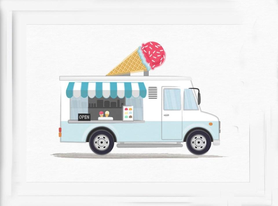 ice cream truck art with ice cream cone on top