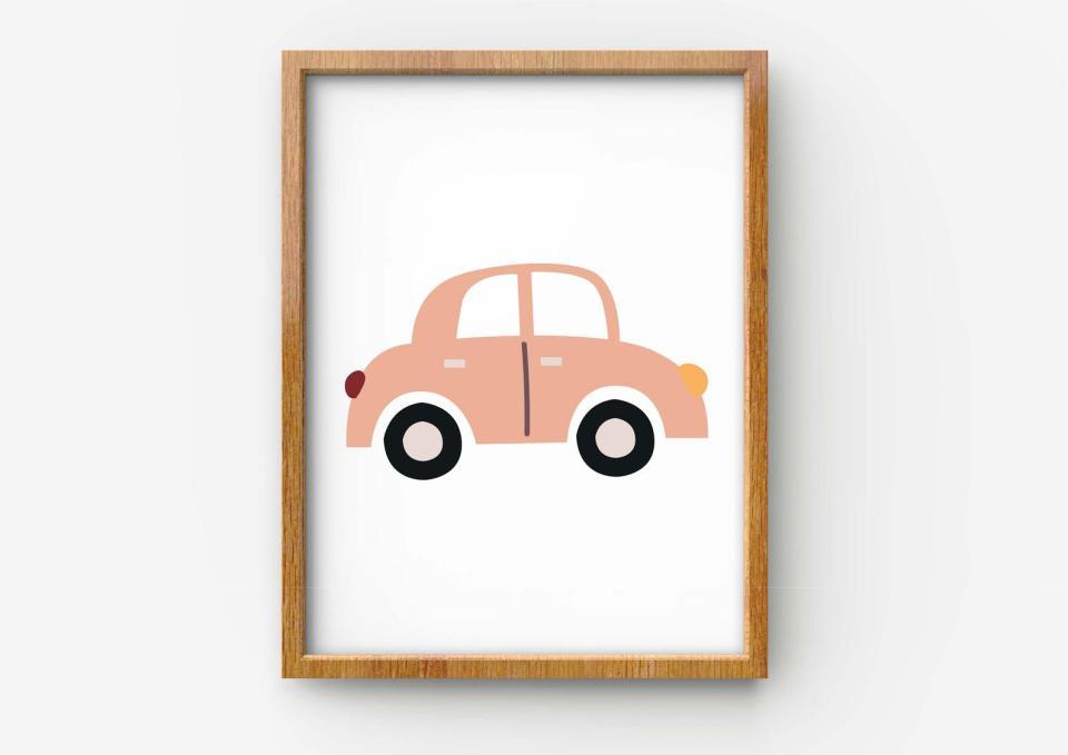 pink car art print