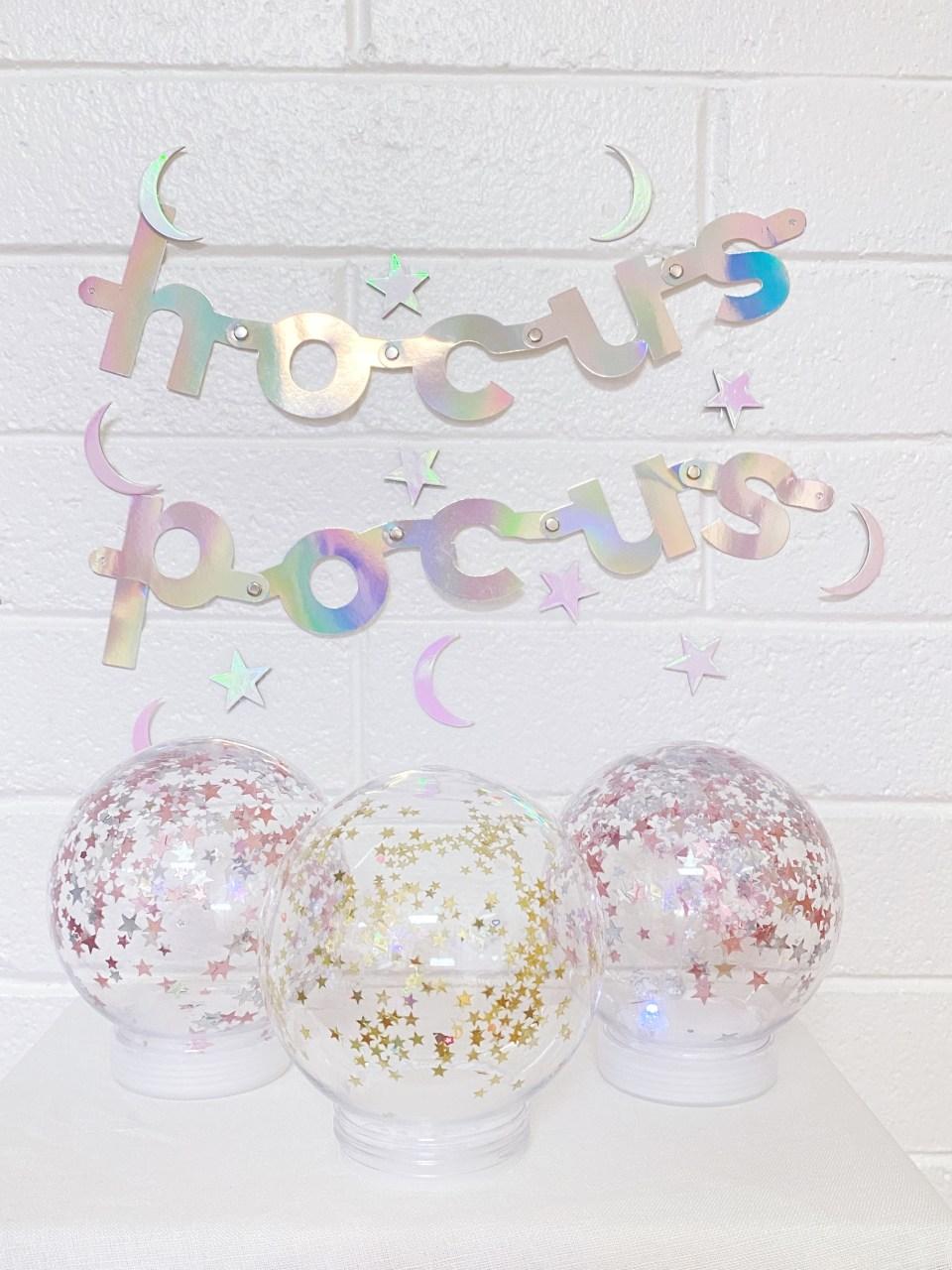 diy magic crystal ball with hocus pocus sign