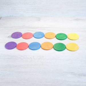 12 Monedas de madera arcoíris