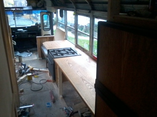 The counter from the aft, by the bunks.