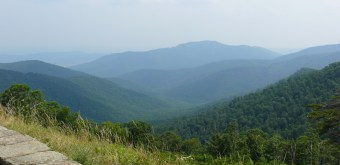 A view of the Blue Ridge Mountains from Skyline Drive.