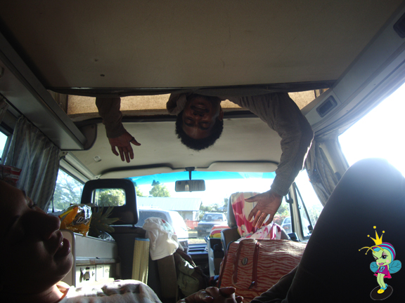 """Aaron hanging from the top bunk we called, """"The Observatory"""""""