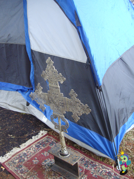 Ethiopian cross in front of Kristafari's tent. I'm bummed I didnt get a pic of him!