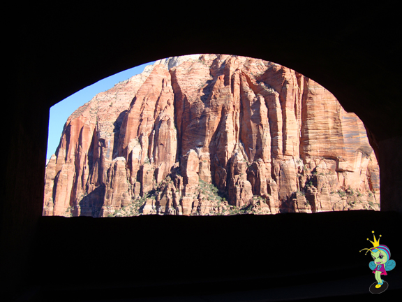 a view from inside the tunnel looking out