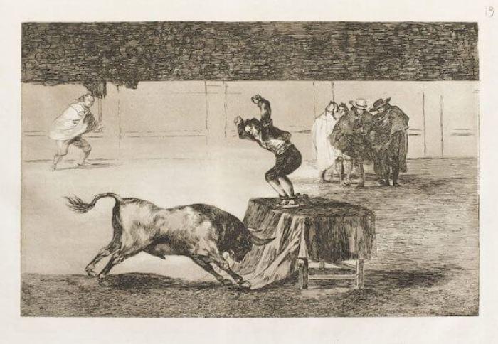 العثور على مطبوعات حجرية عن مصارعة الثيران للفنان فرانثيسكو غويا