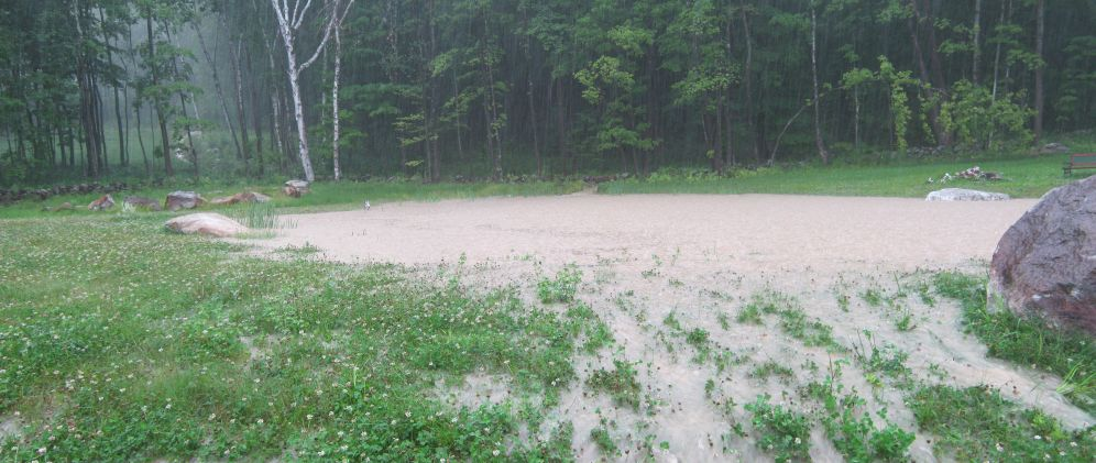 Pond overflowing the bank